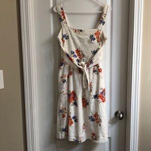 Meadow Rue Anthropologie Floral Apron Midi Dress